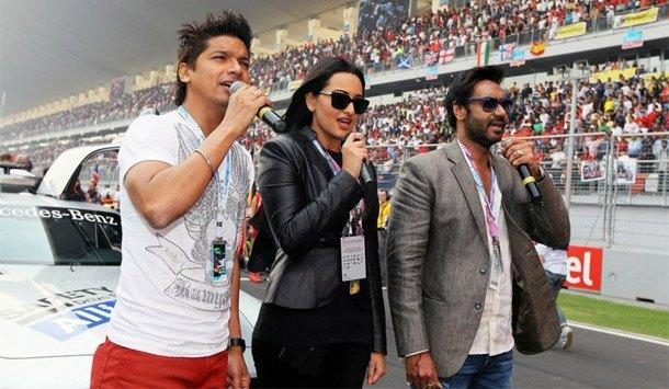 Ajay,Sonakshi And Shaan At F1 Indian Grand Prix