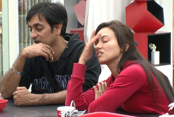 Rajeev And Sana At The Kitchen Room Of Bigg Boss