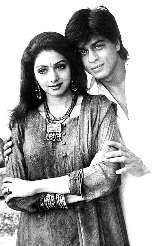 A Young Srk With Sridevi Nice Still From Army Movie
