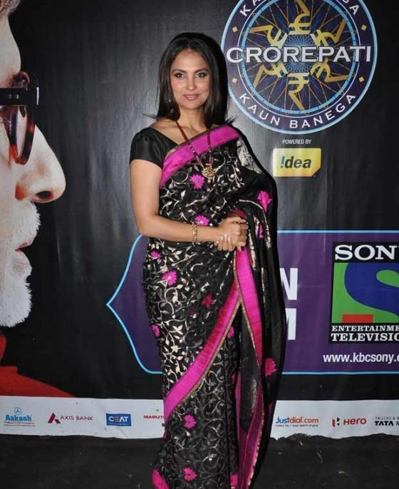 Lara Glamour Look Still In Saree At Kids Special Episode Of KBC