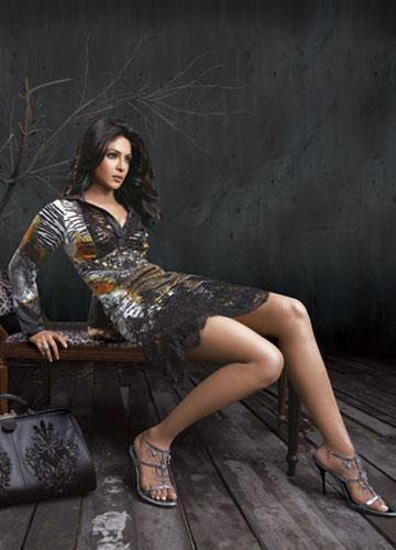 Priyanka Sexy Legs Show Photo Shoot Wearing Designer Falguni And Shane Peacock Dress