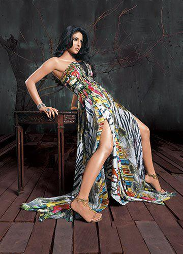 Priyanka Spicy Pose Photo Shoot Wearing Falguni And Shane Peacock Dress