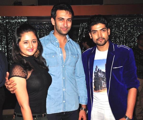 Rashmi With Husband Nandish And Gurmeet Posed During The Success Bash Of Gurmeet Choudhary