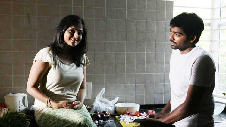 Vijay And Remya In Kitchen Room Still From Pizza Movie