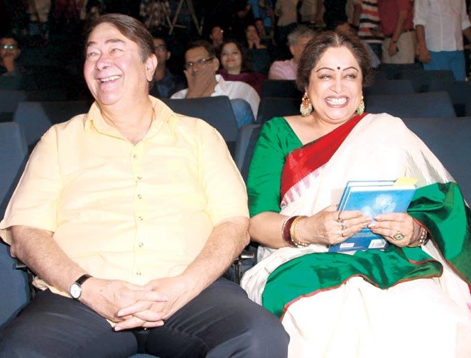 Randhir And Kirron In A Laughing Moment At The Launch Of Book Mahatma Gandhi And Cinema