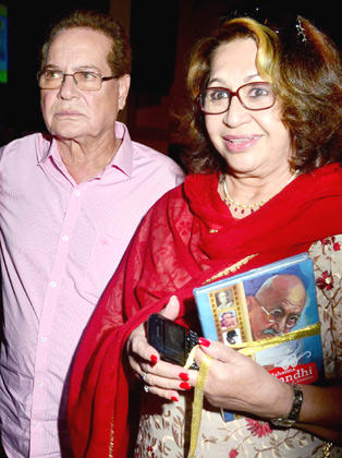 Salim And His Wife Helen At The  The Launch Of Book Mahatma Gandhi And Cinema