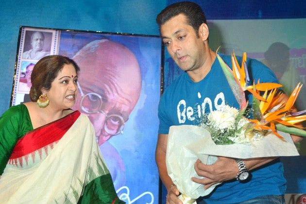 Salman And Kirron Spotted At The Launch Of Book Mahatma Gandhi And Cinema