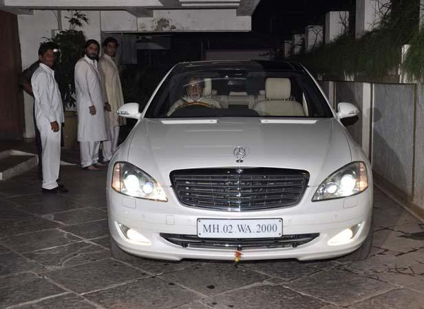 Amitabh Snapped On Car At Sonali House