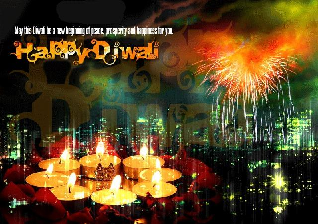 Diwali Fireworks With Diya Background Greeting Card