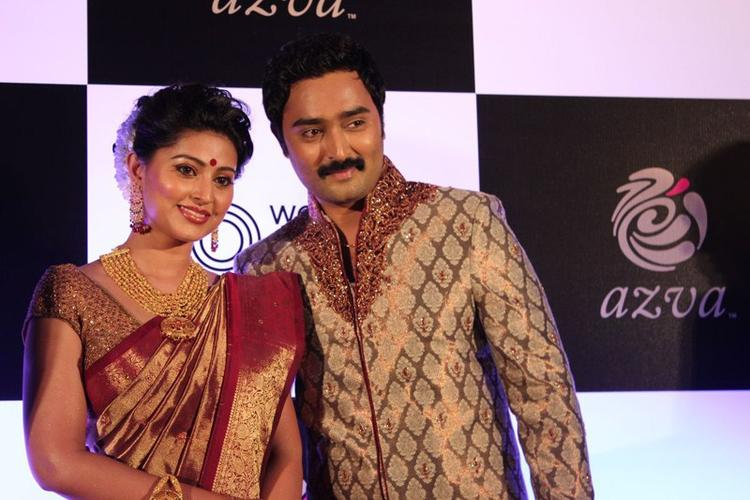 Sneha And Prasanna Posed During The Launch Of World Gold Council Jewellery Collection