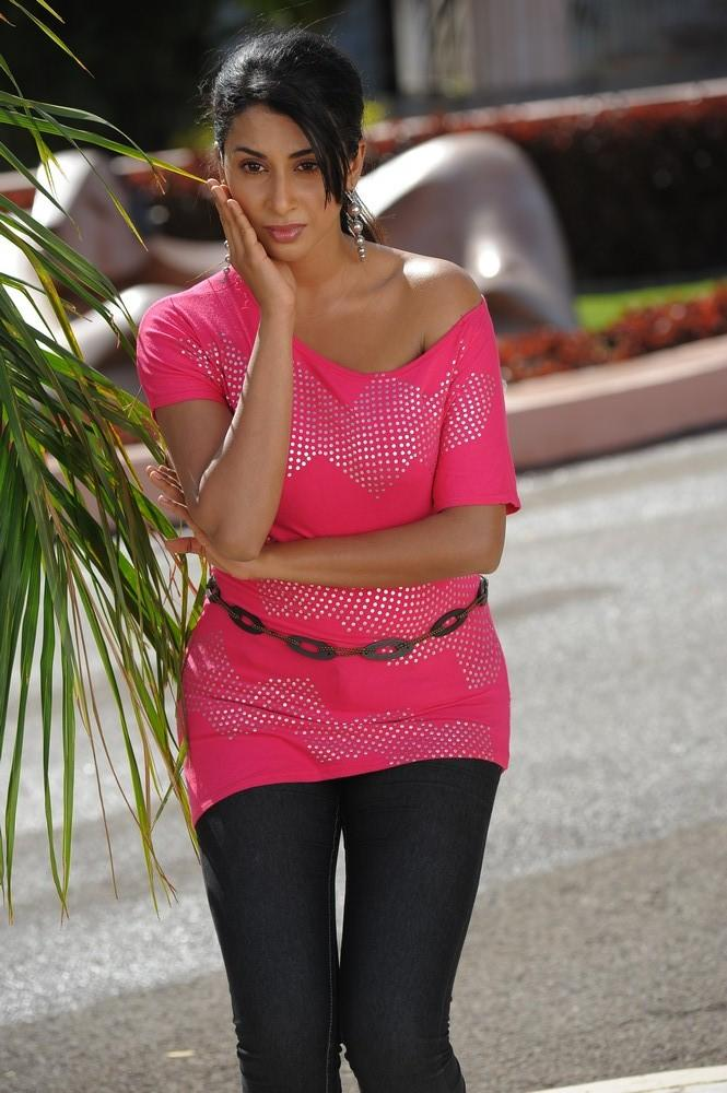 Gayathri Nice Look With Cute Smiling Still In Pink Top From Movie Gola Gola