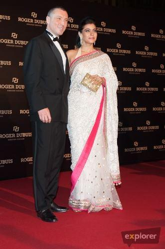 Kajol With Jean Marc Posed For Camera At Roger Dubuis Launch