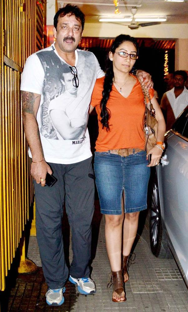 Sanjay With Wife Maanyata Spotted At Son Of Sardaar Screening