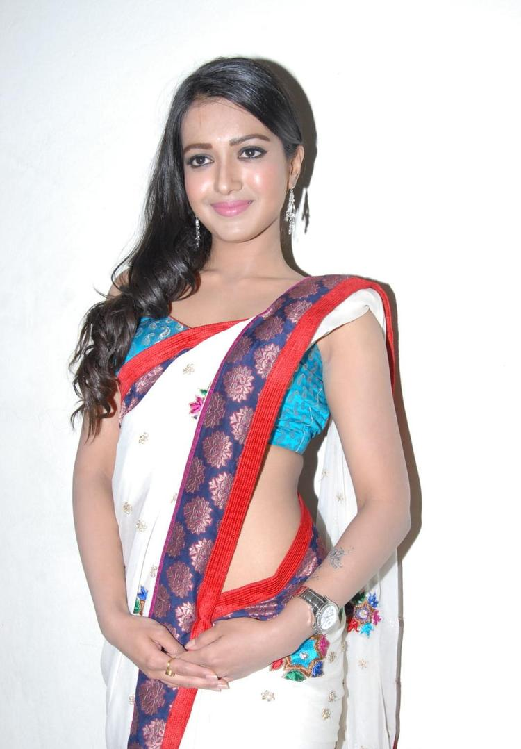 Catherine Sizzling And Dashing Still In Saree At Chammak Challo Audio Release Function