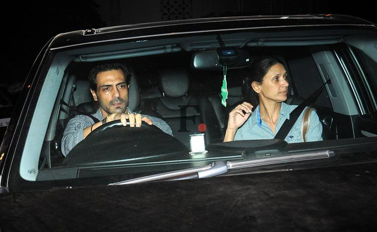 Arjun With His Wife Meher Photo ClickedIn Car At Ritesh Sidhwani Diwali Party