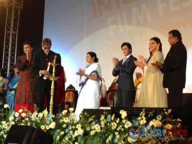 Amitabh,Mamata,Shahrukh,Anushka And Mithun On Stage At 18th Kolkata International Film Festival