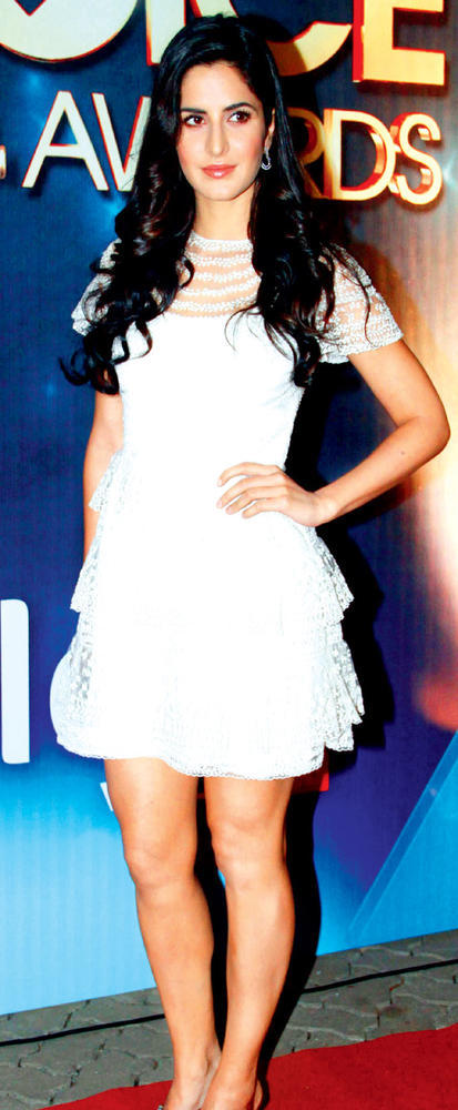 Katrina Completed Her Look With Flowing Hair In White Dress