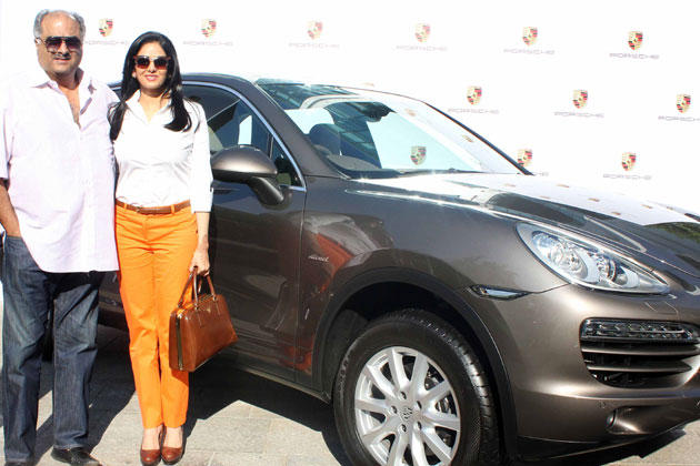 Sridevi With Hubby Boney Posed Near The Porsche Gifted Car