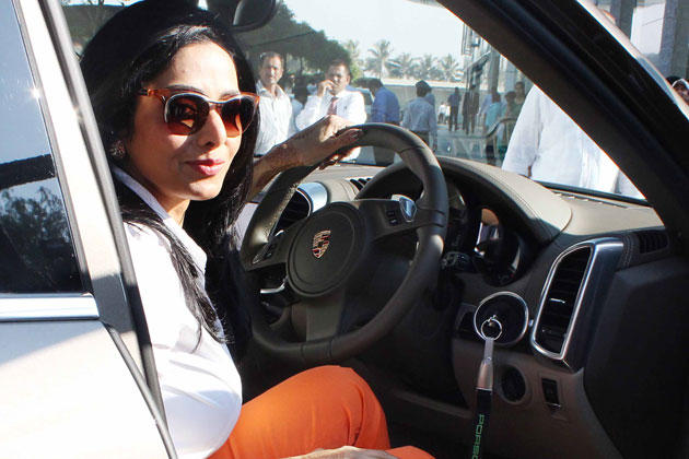 Sridevi Nice Look With Cute Smiling Still In The Porsche Car
