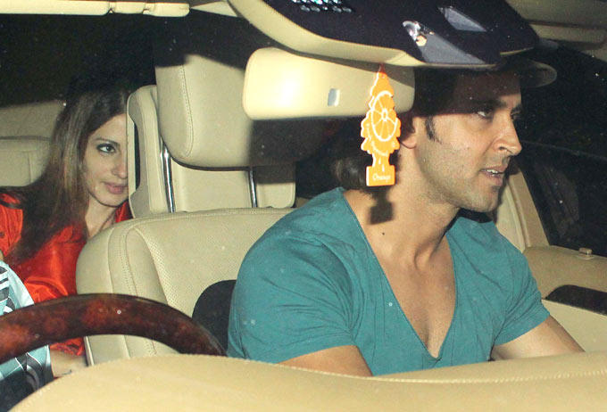 Hrithik With Wife Suzanne At Amitabh Bachchan Diwali Bash