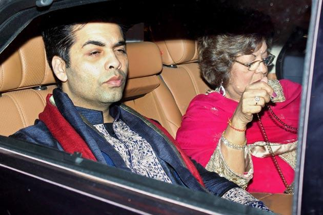 Karan With Mom Hiroo At Big B's Diwali Bash