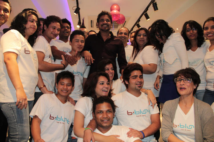 Nagarjuna Clicked At B-Blunt Salon Launch
