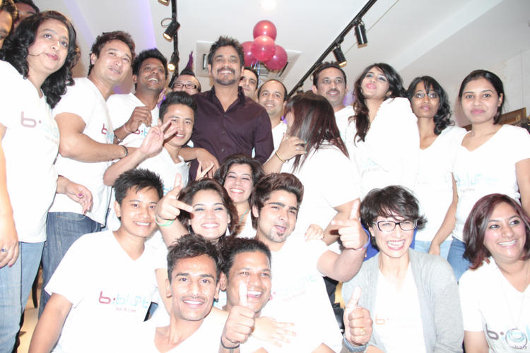Nagarjuna Posed During The Launching Of B-Blunt Salon