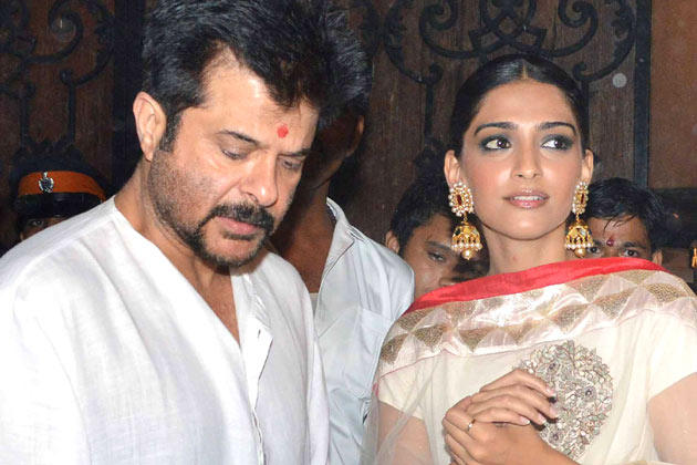 Anil With His Daughter Sonam At Diwali Celebration
