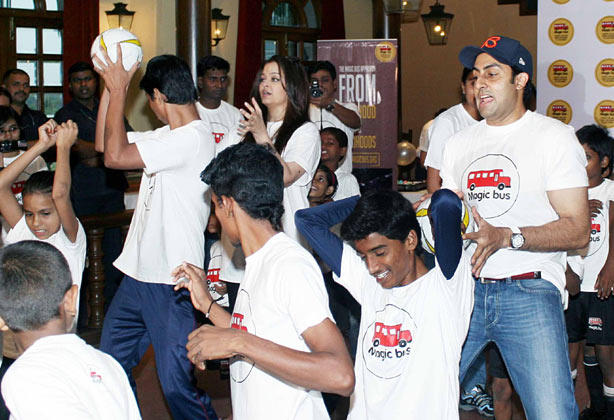 Abhishek And Aishwarya Playing Photo Clicked At Magic Bus Event On Children's Day