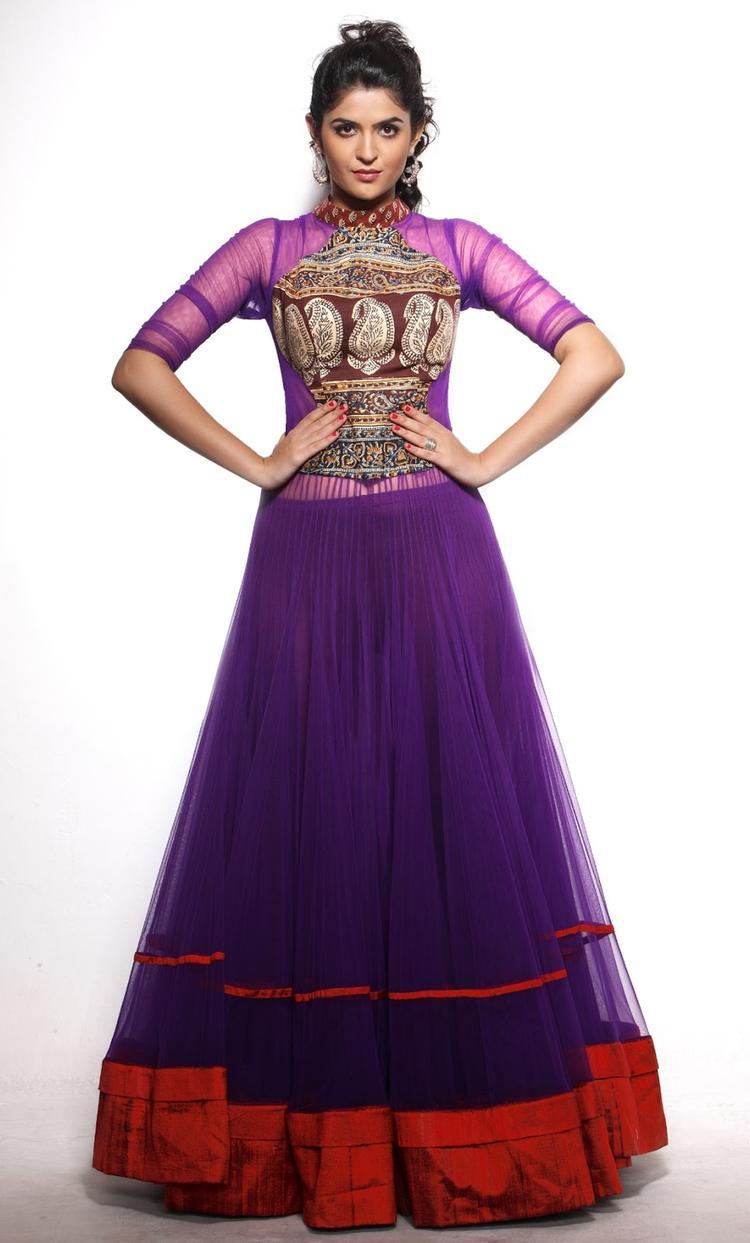 Deeksha Charming Look Photo Shoot In Long Violet Dress