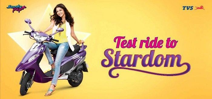 Anushka Riding TVS Scooty Add Poster
