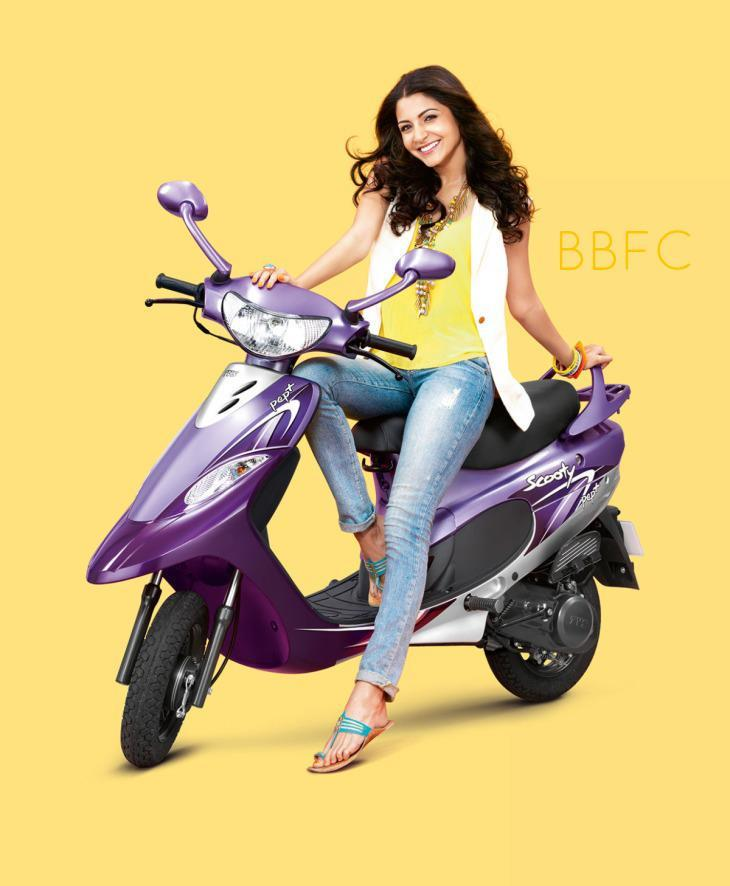 Pictures Of Hot Biker Girl Anushka With TVS Scooty Pep