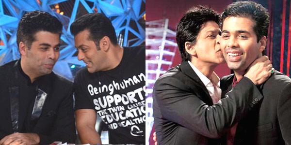 Salman With Karan Smiling Still And SRK Kisses Karan Nice Still