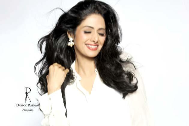 Sridevi Kapoor Cute Smiling Photo Shoot For Dabboo Ratnani