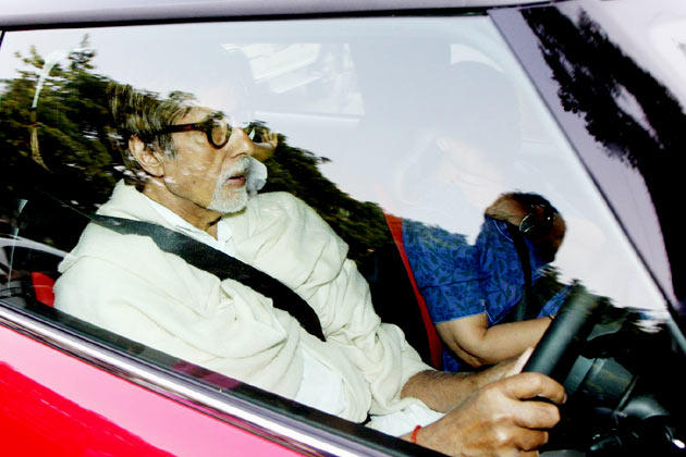 Amitabh With Wife Jaya Snapped In Mini Cooper Car