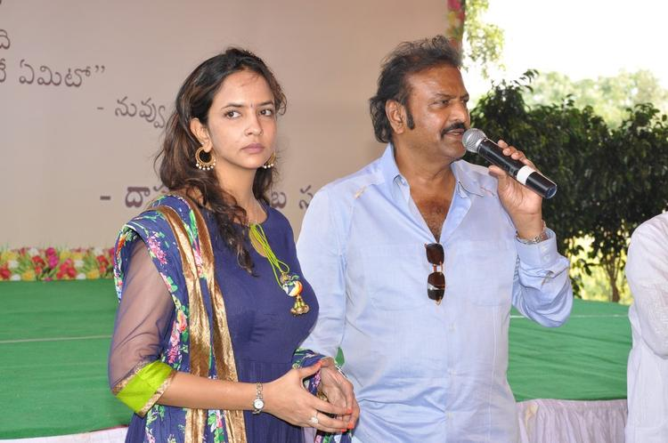 Mohanbabu With Daughter Lakshmi Snapped At Dasari Padma Memorial Event