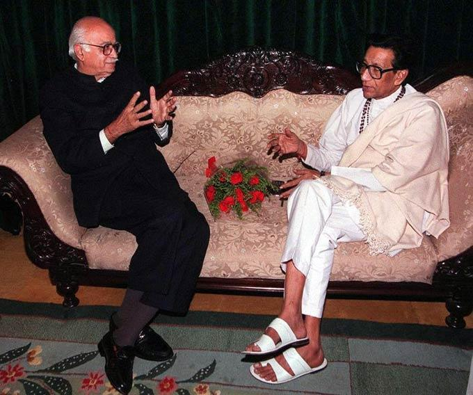 Bal Thackeray With Lal Krishna Advani In A Discussion Still