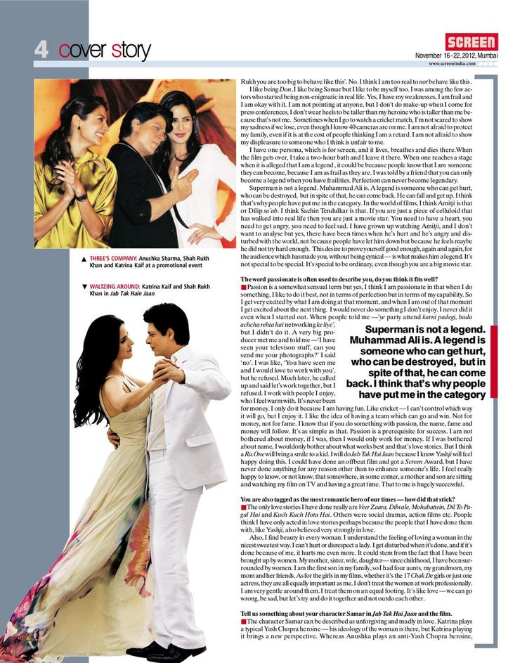 Shahrukh Dancing With Katrina Photo On Screen Magazine November 2012