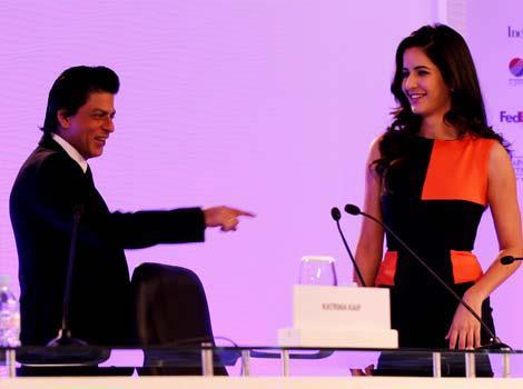 Shahrukh And Katrina Addressing A Press Conference During The HT Leadership Summit