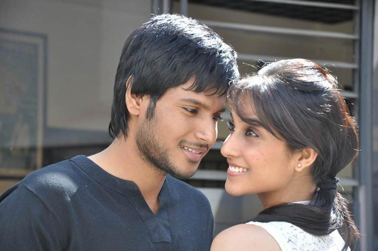 Sandeep And Regina A Still From Routine Love Story Movie