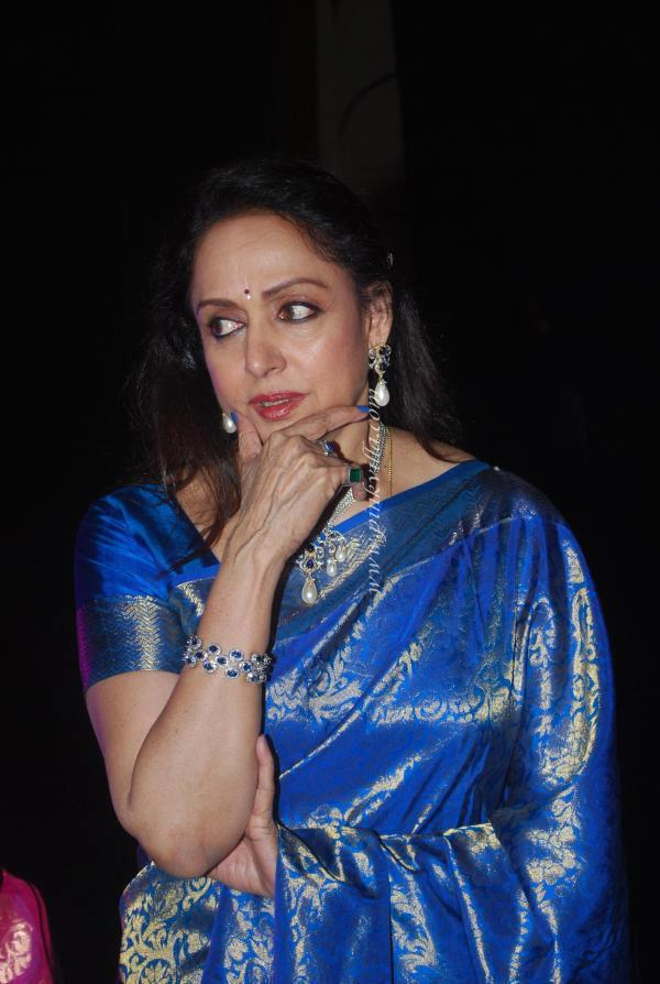 Hema Malini Glamorous Look Still In Blue Silk Saree At Neheru Centre