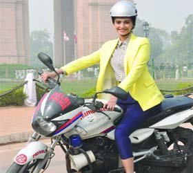 Sonam Bike Riding Photo Still At Promotion Of Delhi Traffic Police