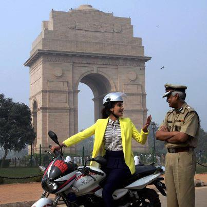 Sonam With A Police Officer Snapped At Promotion Of Delhi Traffic Police