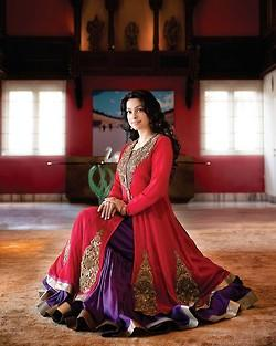 Juhi Chawla Trendy Looking Photo Shoot In Red Violet Anarkali Dress For Hello India November 2012 Edition