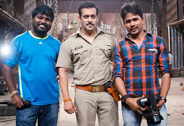 Salman With Cameraman Posed For Camera On The Sets Of Dabangg 2