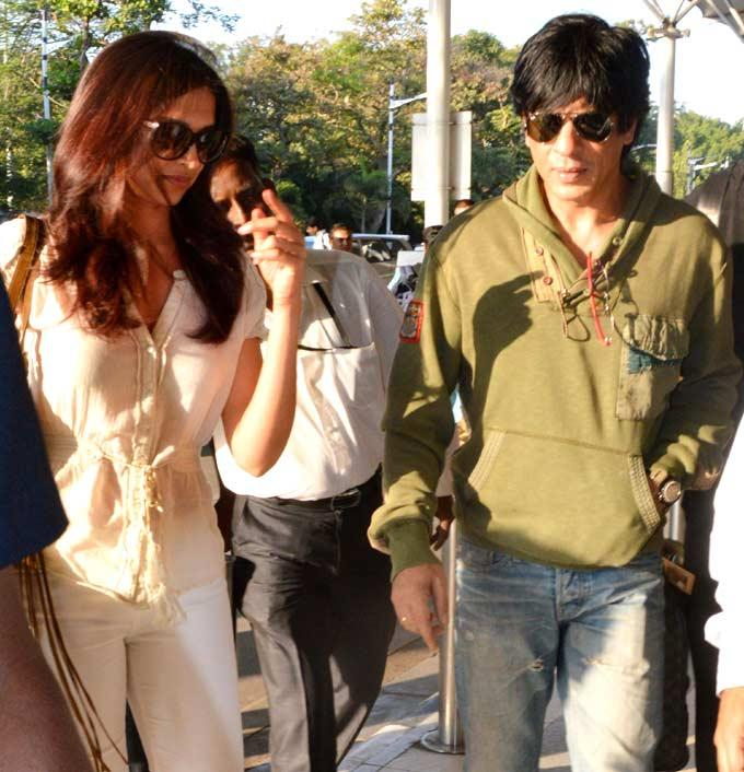 Shahrukh And Deepika Spotted At Mumbai Airport On Their Way To Goa