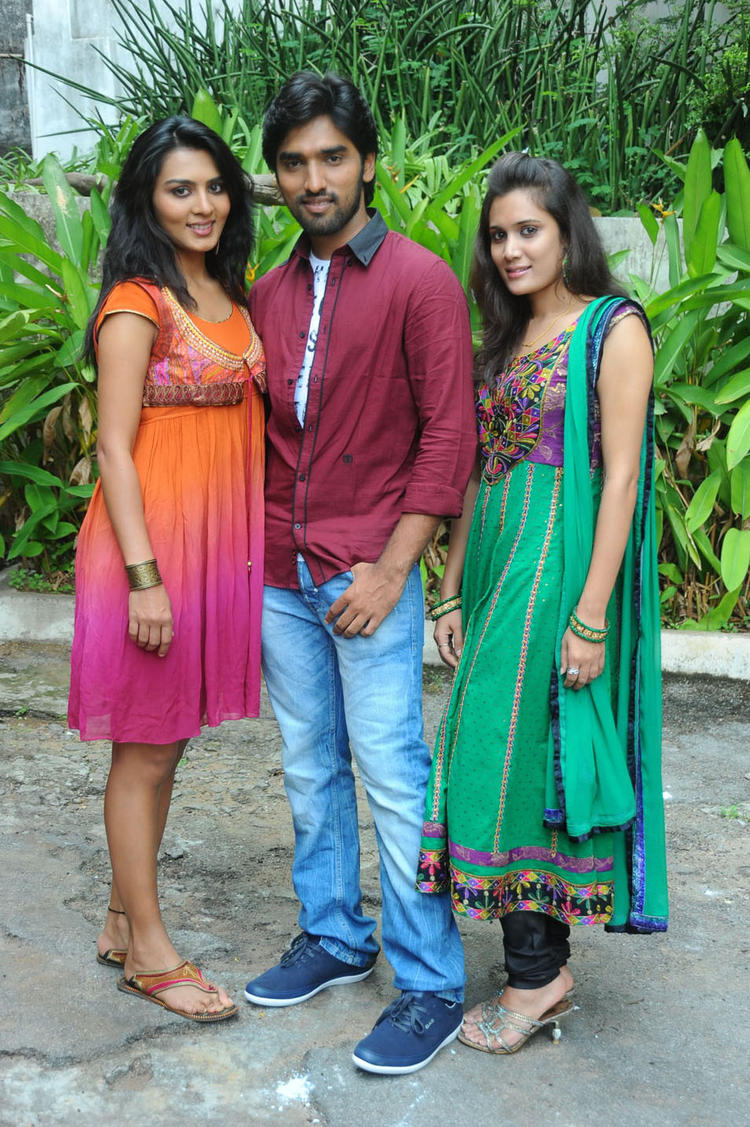Sindhu,Aneesh And Kumudha Posed For Camera At Coffee With My Wife Movie Muhurat