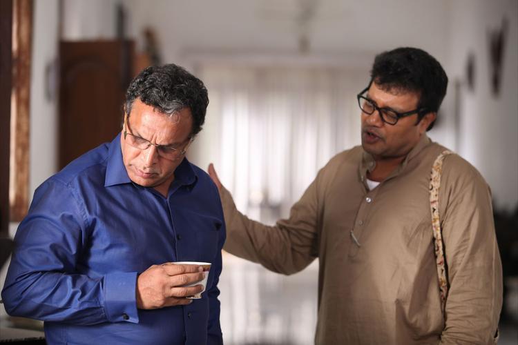 Krishnudu And Nassar Photo Still From Telugu Movie Dhalam