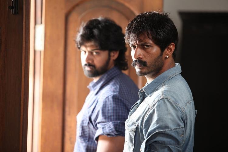 Naveen Chandra And Kishore Angry Look Still From Telugu Movie Dhalam