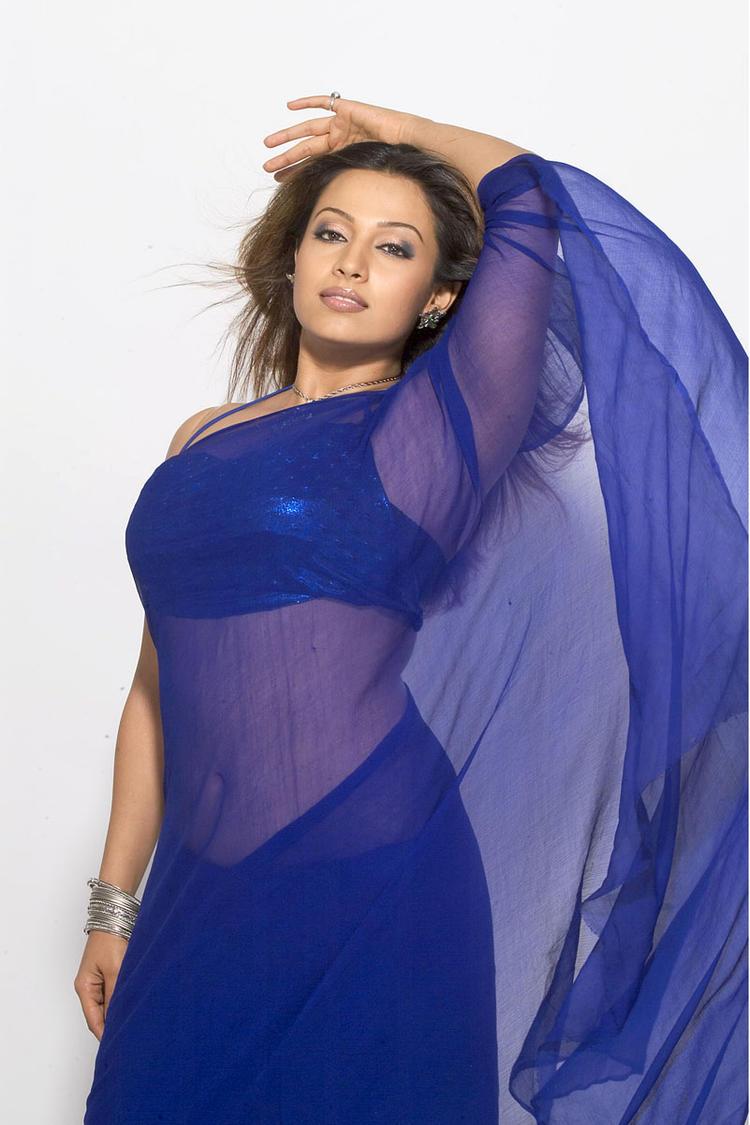 Mayuri Hot Expression Photo Shoot In Blue Saree